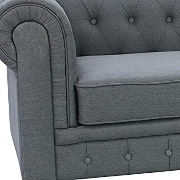 US Pride Furniture S5070-S Linen Fabric Chesterfield Sofa Set, Grey