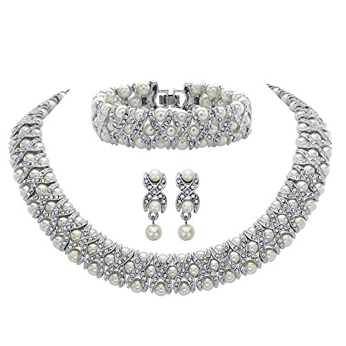 Palm Beach Jewelry Silver Tone X & O Earrings, Bracelet and Necklace Set, Round Crystal and Simulated Pearl, 18