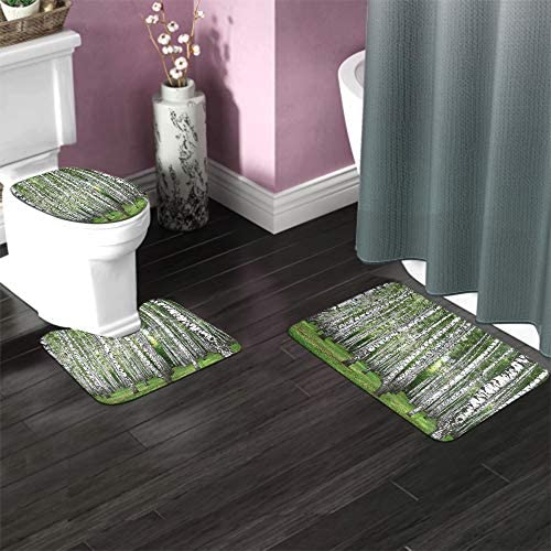 EKOBLA Birch Forest Bathroom Mat Autumn Beautiful Fall Freshness Grass Tranquil Rural Stem Scenic Durable Bathroom Rug Set 3 Pieces Anti-Skid Pads Toilet Seat Lid Cover Mat Polyester