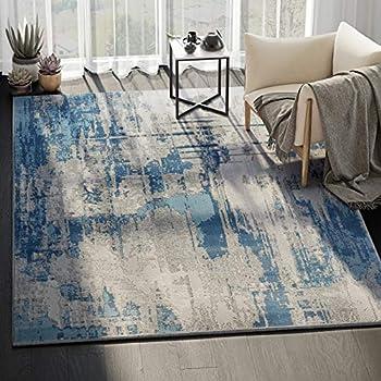 Amazon Com Abani Rugs Blue Amp Grey Vintage Abstract Motif