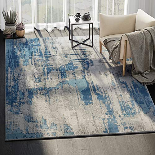 Abani Rugs Blue Grey Vintage Abstract Motif Area Rug Rustic Contemporary Modern Style Accent, Vista Collection Turkish Made Superior Comfort Construction 3 x 5 Rectangle