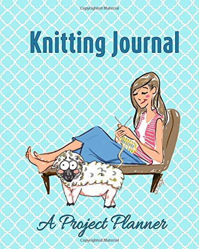 Knitting Journal A Project Planner  Knitting Patterns Book Teal Blue Funny Sheep