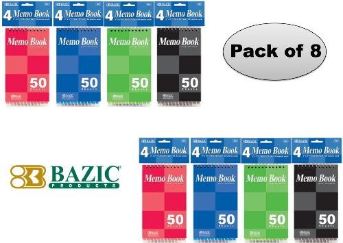 Bazic Top Bound Spiral Memo Books, 3-Inch-by-5-Inch, 50 Sheets, Pack of 8 (Spiral Book)