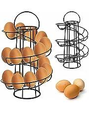 Spiraling Design Egg Skelter, Stable Base Egg Metal Dispenser Rack,Storage Space Up to 24, Organizer Display Holder for Raw/Soft Hard Boiled Egg