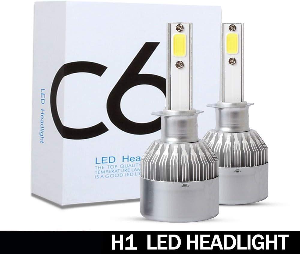 2 Pi/èces Phare LED Bleu Clair 8000 K Projecteurs Antibrouillard 72 W 8000 LM Kits de Conversion Auto-Lampes Feux de Brouillard H1 Cikuso Ampoules de Phare de Voiture LED par C6
