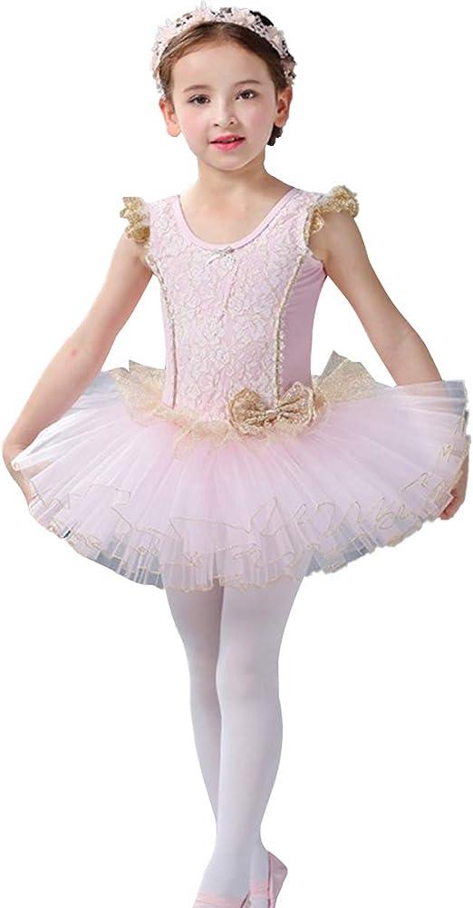 Girl Ruffle Sleeve Gymnastics Ballet Dress Kids Leotard Tutu Skirt Dance Costume