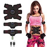 EMS ABS Trainer Ultimate AB Stimulator Electric Muscle Toner ABS Stimulator USB Rechargeable Fat Burner Equipment Ab Toner Belt Abdominal Muscle Trainer for Abdomen/Arm/Leg for Men Women