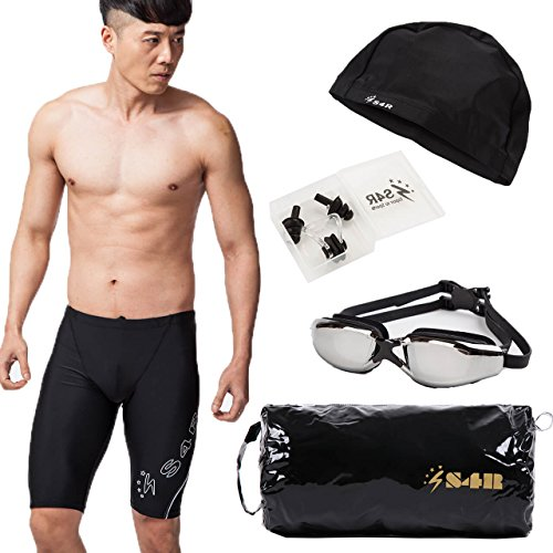S4R Men's Lycra Jammer Swimsuit + Goggles + Swim cap + Nose clip + Ear clip High quality and low price Swimming set (Black/White, M)