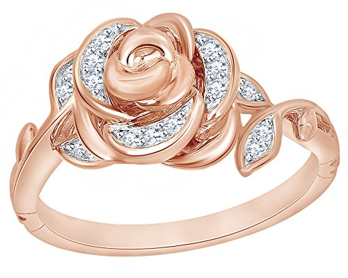 9k Solid Ring - 1/10 Ct White Diamond Rose Belle Ring in 9K Solid Gold