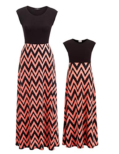 Mother Daughter Stripe Stitching Dress Casual Family Clothes Women Empire Dress