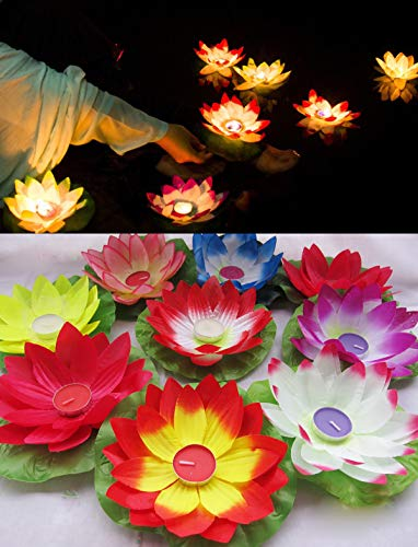 5pc Lotus Water Lily Floating Lantern Wish Lamp Summer Birthday Party Wedding Pool Decor (5Pc Mixed ()