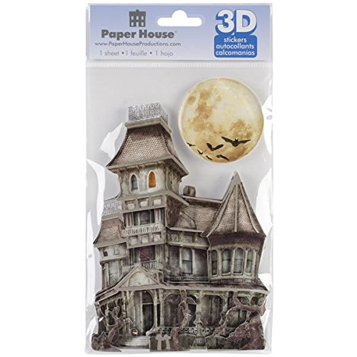 Paper House Productions STDM-0098E 3D Cardstock Stickers, Haunted House (3-Pack) (Halloween Haunted House Themes)