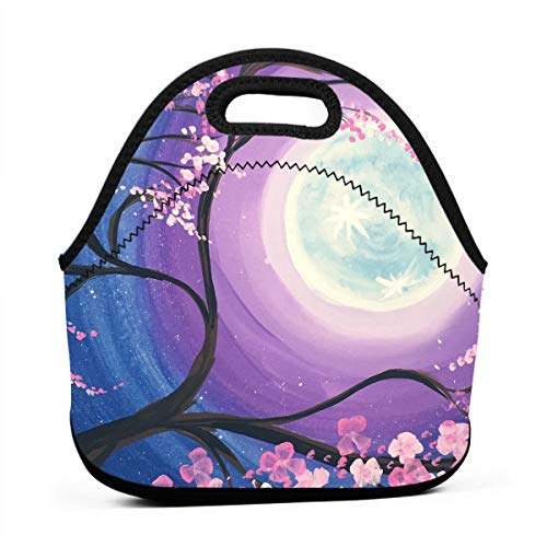 Janeither Cherry Moon Art Painting Portable Reusable Lunch Bag Waterproof Picnic Tote Insulated Cooler Zipper - Dvd Baby Nba