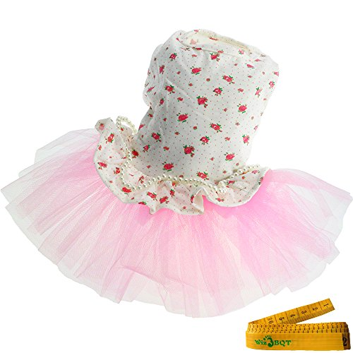 Wiz BBQT Sweet Pink Pet Dog Cat Princess Floral Flower Gauze Tutu Dress Skirt Patchwork with String of Artificial Pearls…