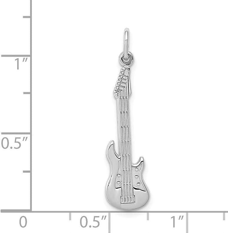 14ct de oro blanco de del encanto de la guitarra - medidas 30,6 x ...