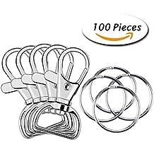 Paxcoo 100 Pcs Metal Swivel Lanyard Snap Hook with Key Rings