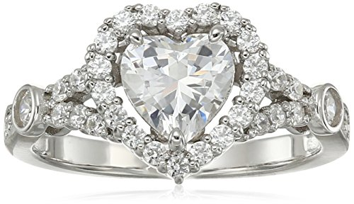 Platinum-Plated Sterling Silver Swarovski Zirconia Vintage Heart Halo Ring, Size 6