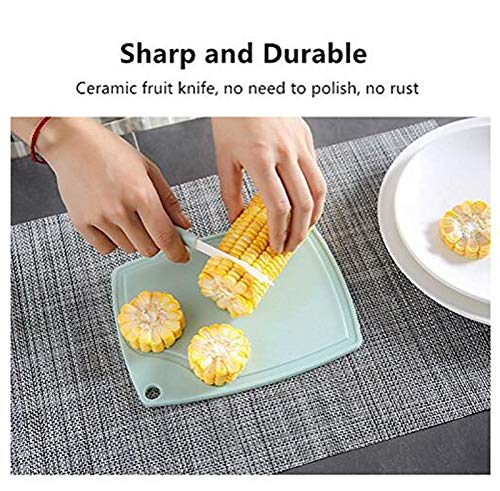 Ceramic Fruit Knife Peeler Set Fruit Paring Ceramic Knives Set for Kitchen Cutting Fruit & Vegetables Includes 2 Ceramic Knife &2 Paring Kinfe,2 Cutting Board by Eacolle (Image #3)