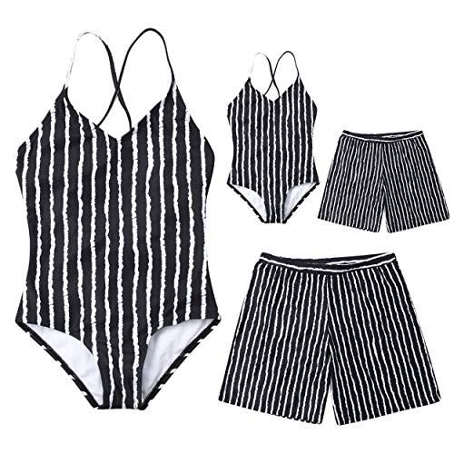 AMILIEe Family Matching Swimwear Mommy Daddy and Me One Pieces Monokini Swimsuit Stripe Print 2019 Bathing Suit -