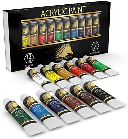 Acrylic Paint Set – Artist Quality Paints for Painting Canvas, Wood, Clay, Fabric, Nail Art, Ceramic & Crafts – 12 x 12ml Heavy Body Colors – Rich Pigments – Professional Supplies by MyArtscape