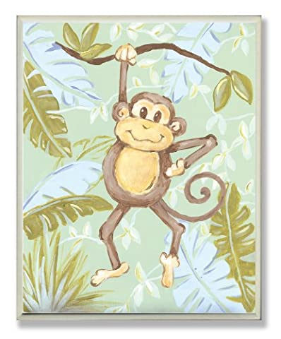 The Kids Room by Stupell Monkey in the Jungle Rectangle Wall Plaque (Blue Theme Room)