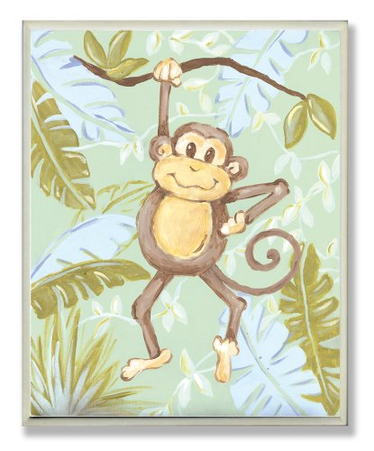 The Kids Room by Stupell Monkey in The Jungle Rectangle Wall Plaque ()