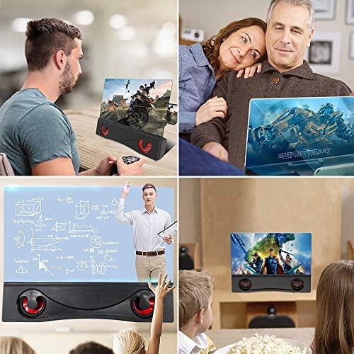 12'' Phone Screen Magnifier with Bluetooth Speaker, 3-d HD Cell Phone Screen Amplifier for Movies, Videos, Gaming, Compatible with All Smartphones