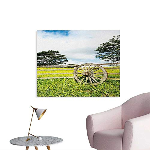 Tudouhoho Barn Wood Wagon Wheel Poster Paper Fresh Green Meadow Ranching Fences Lush Growth Rural Landscape Trees Photographic Wallpaper Multicolor W28 xL20