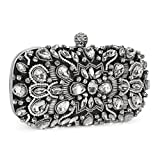 Chichitop Women Crystal Beaded Rhinestone Evening Clutch Bag Wedding Purse Bridal Prom Handbag Party Bag (Black)