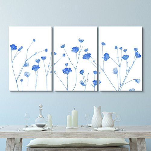 3 Panel Small Blue Flowers on White Background Gallery x 3 Panels