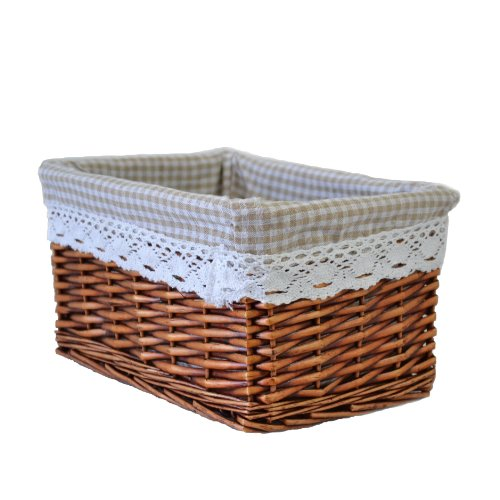 RURALITY Willow Wicker Storage Basket with Lining ,Brown ,Medium