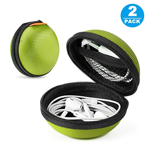 [Set of 2] Portable Protection Hard EVA Case,Clamshell MESH Style Zipper Enclosure,Inner Pocket Durable Exterior Wired/Bluetooth Headset Earbud Bag Lightweight Change Purse Small Hand Bag (Green)