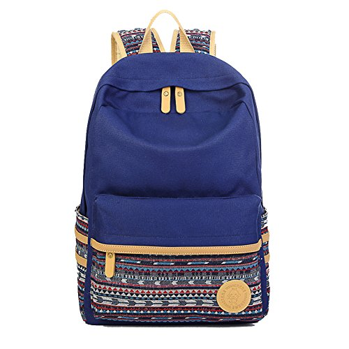 Artone Unisex Casual Daypack Stripes Canvas School Backpack With Laptop Compartment Stripe Deep Blue by Artone