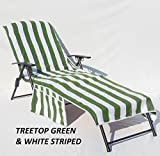Veradox Designs 100% Cotton Lounge Chair Seat Cover (Treetop Green & White Striped)