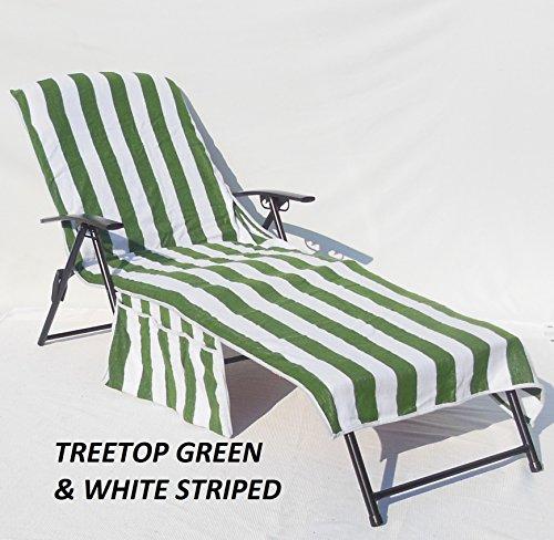 Veradox Designs 100% Cotton Lounge Chair Seat Cover (Treetop Green & White Striped) by Veradox Designs