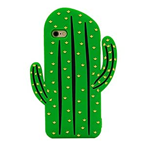 """Apple iPhone 6 / 6s Case Back Covers 4.7"""" Screen Soft Silicone Cute Lovely Stylish Design (Green Cactus)"""