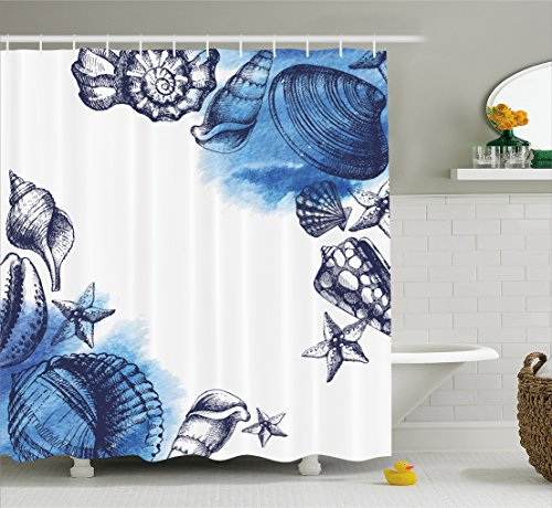 Ambesonne Ocean Shower Curtain, Sealife Sea Shells and Sand Stones Deep Water Star Fish Blue Toned Design, Fabric Bathroom Decor Set with Hooks, 75 Inches Long, Navy Blue and White