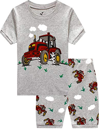 (Pajamas for Boys 2 Pieces Baby Grow in The Dark Truck Clothes Summer Kids Bigfoot Car Short PJs Set 8t )