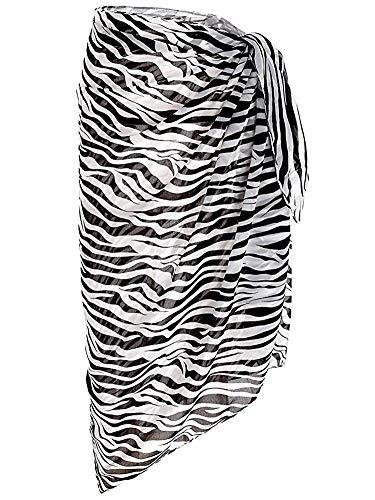 Block Garden Women's Chiffon Swimsuit Cover up Sarong Pareo Printed Beach Wrap (03 Zebra)