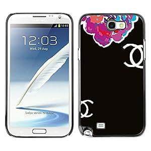 Caucho caso de Shell duro de la cubierta de accesorios de protección BY RAYDREAMMM - Samsung Galaxy Note 2 N7100 - Begonia Floral Black Clothing Fashion