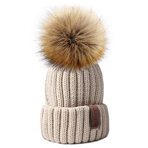 Kids Winter Knitted Pom Beanie Bobble Hat Faux Fur Ball Pom Pom Cap Unisex Kids Beanie Hat,Beige,One Size ()