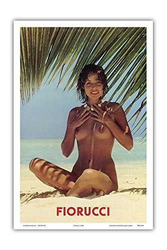 fiorucci-nude-girl-on-beach-vintage-advertising-poster-c1970s-hawaiian-master-art-print-12-x-18in