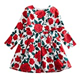 Outtop(TM) Baby Long Sleeve Toddler Infant Kid Boys Girls Rose Floral Print Party Dress Zipper Outfits Clothes (3T(2~3years), Red)