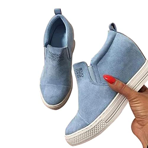 Mujer Sneakers Cuña Botines Invierno Ancho Ankle Boots Moda Botines Tacón cuña Plataforma Boots Rosado Azul Negro Talla Grande 36-43: Amazon.es: Zapatos y ...
