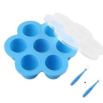 HelpCuisine® Récipient Nourriture pour Repas Bebe Récipient de congélation  - 7 Pots de Conservation, Moule de Glace avec Couvercle en Silicone,