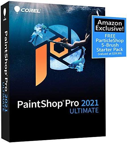 Corel PaintShop Pro 2021 Ultimate | Photo Editing & Graphic Design Software Plus Creative Collection | Amazon Exclusive 5-Brush Starter Pack [PC Disc]