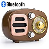 Retro Bluetooth Speaker Radio, Portable AM FM Shortwave Radio with Rechargeable Battery Support USB MP3 Player and TF Card -Gold
