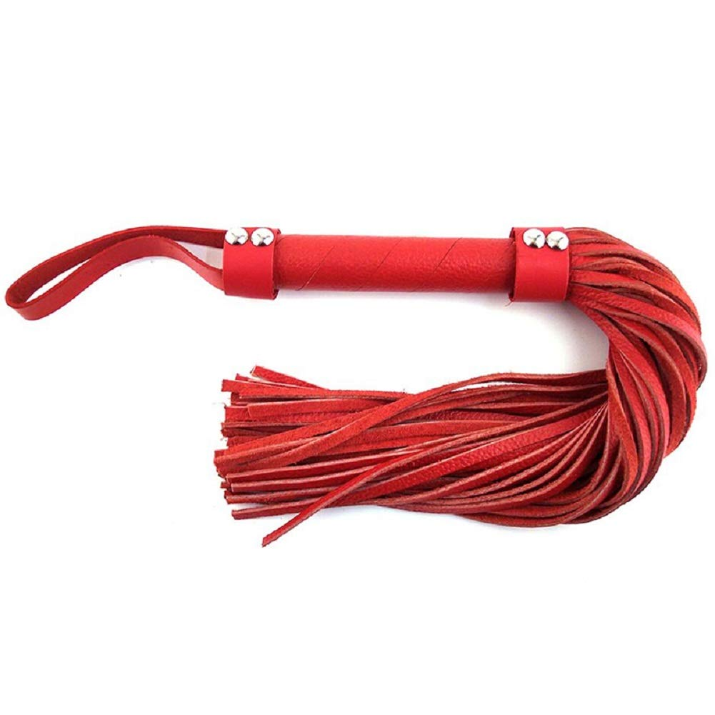 Rouge H-Style Leather Flogger Red Includes a Free Bottle of Adult Toy Cleaner by Rouge Garments