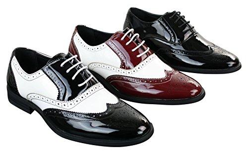 Chaussures homme cuir PU verni brillant style brogues Gatsby années 20 en noir rouge blanc noir-blanc vhqkVK2v