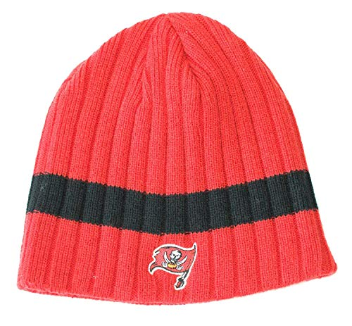 Reebok NFL Tampa Bay Buccaneers Thick Stripe Cable Knit Hat Beanie Cap Lid Toque ()